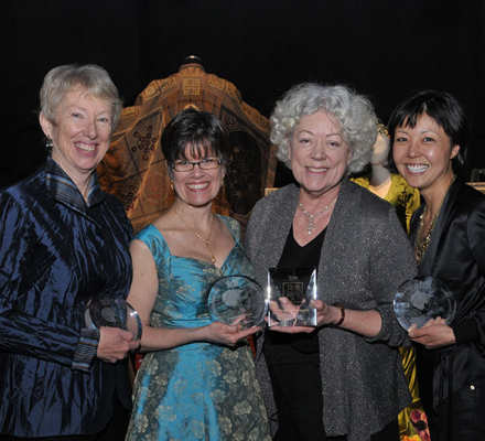 Photo of Deborah M. Dryden, Marianne Krostyne, Marjorie Bradley Kellogg and Linda Cho, Photo by Anita and Steve Shevett