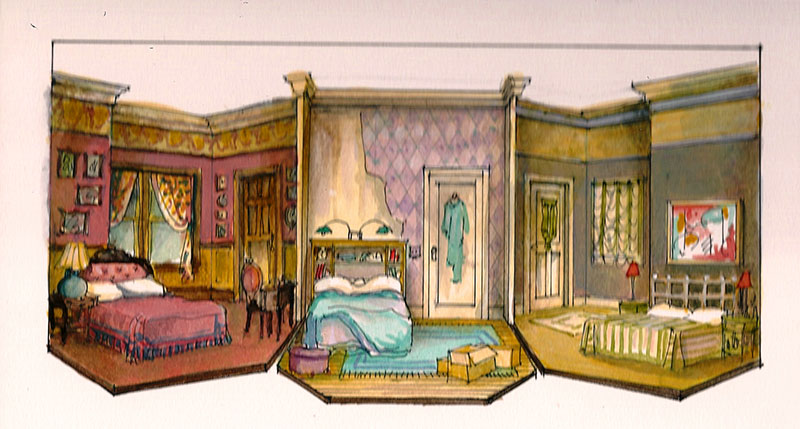 Bedroom Farce - scenic design by Marjorie Bradley Kellogg