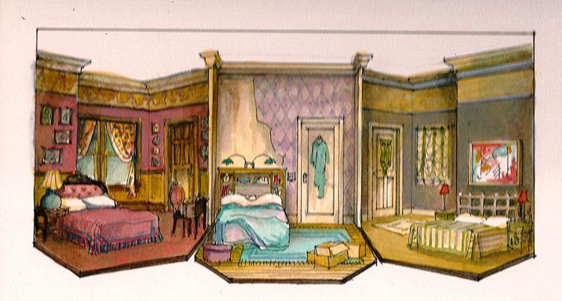 Bedroom Farce - scenic design by Marjorie Bradley Kellogg